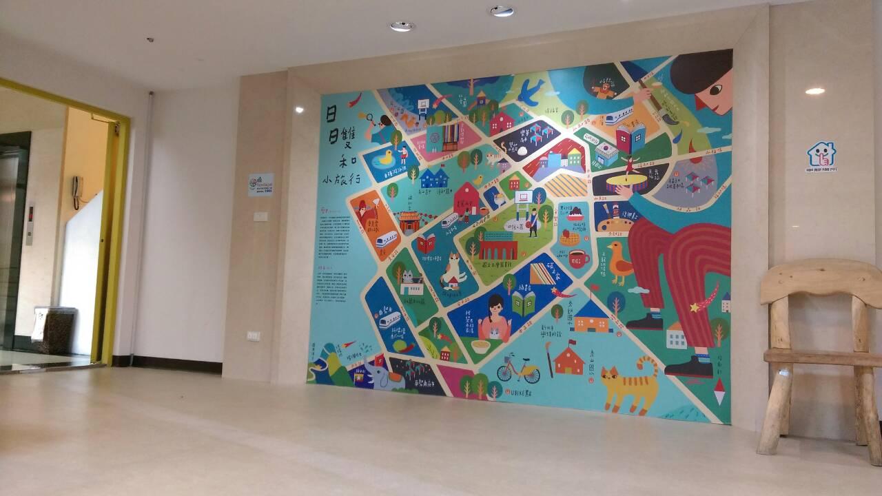 2樓一進門會有一個以插畫形式呈現的雙和地圖